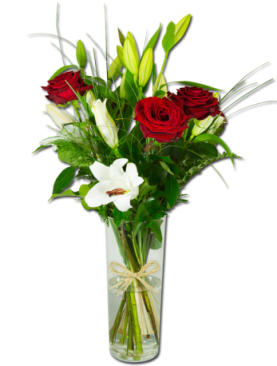 bouquet de lys et roses
