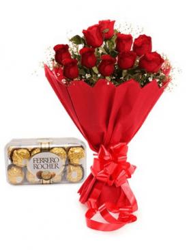 Le 12 Roses Rouges + Chocolat